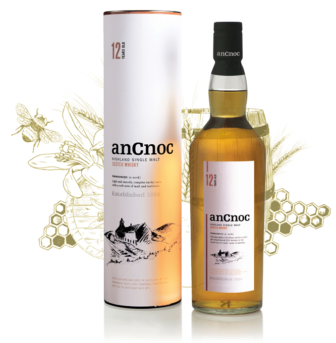 anCnoc 12 Years Old Bottle & tube with illustration