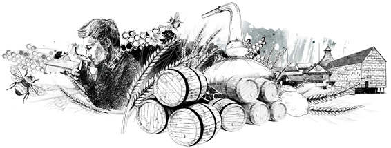 anCnoc whisky illustration with man nosing whisky and barrels, stills and Knockdhu Distillery in the background