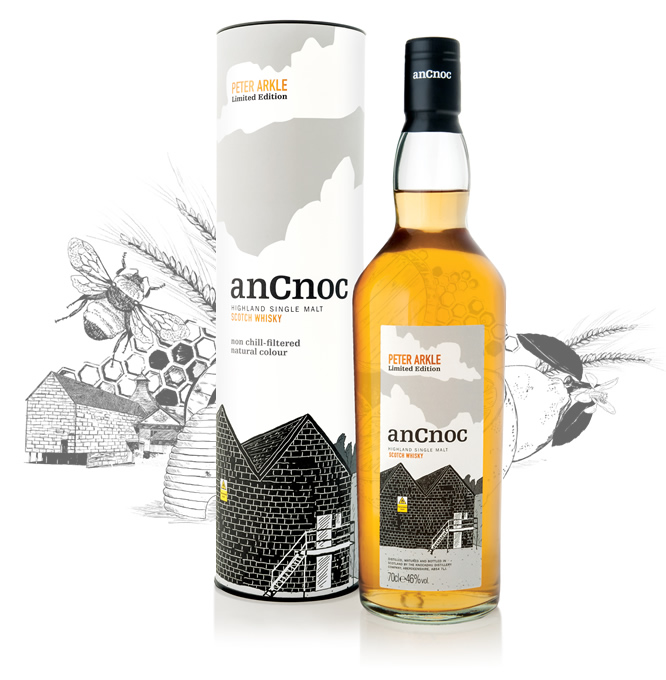 anCnoc single malt Scotch whisky Peter Arkle Warehouses and illustration