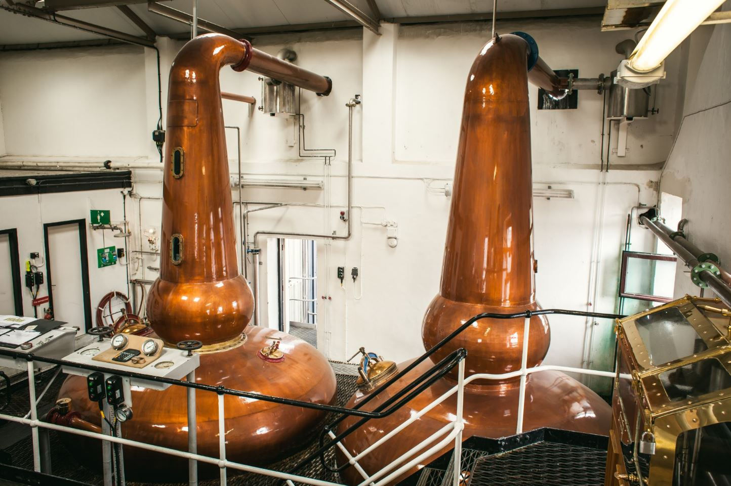 Copper Stills in Still Room at Knockdhu Distillery