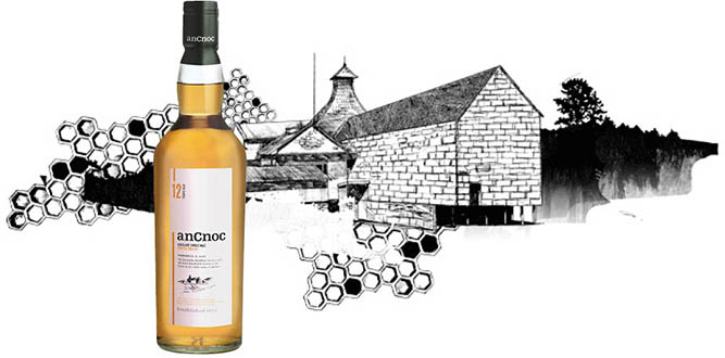 Knockdhu Distillery illustration with anCnoc 12 Years Old bottle