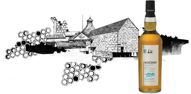 Knockdhu Distillery illustration with anCnoc 16 Years Old bottle