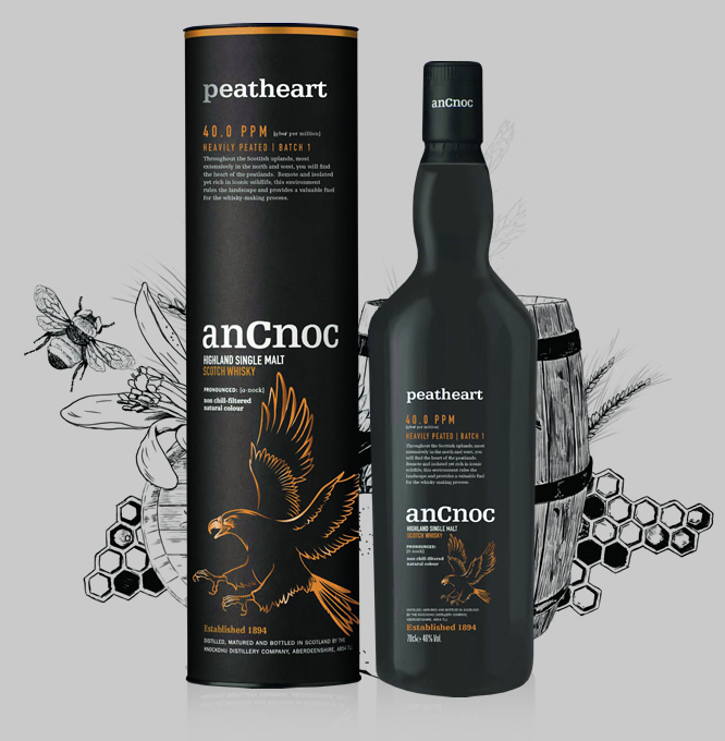 anCnoc Peatheart bottle & tube with illustration