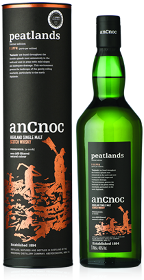anCnoc single malt Scotch whisky Peatlands bottle and tube