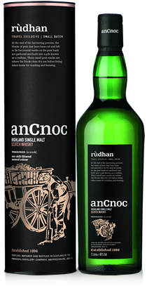 anCnoc single malt Scotch whisky Rudhan bottle and tube