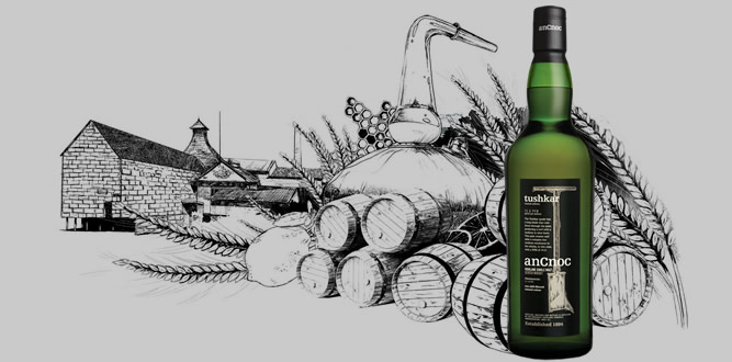 anCnoc Peaty bottle with still and whisky barrels illustration