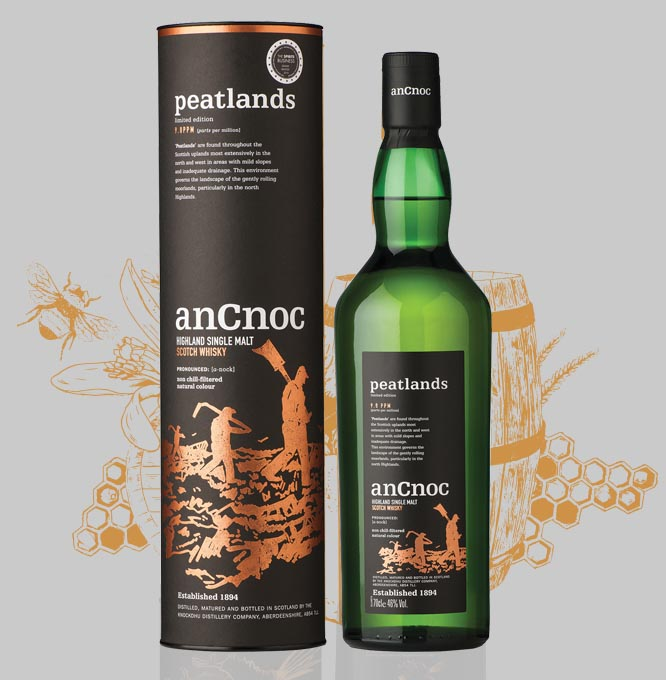 anCnoc Peatlands bottle & tube with illustration